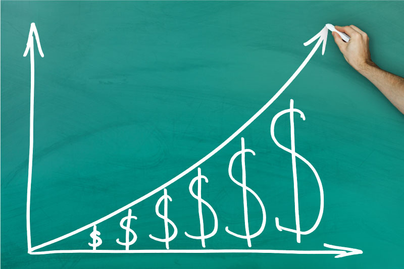 Growing investments chalkboard diagram with small to large dollar signs.